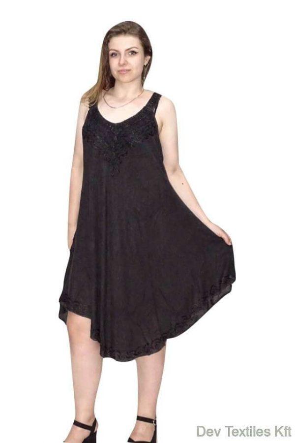indiai hímzett rövid ruha vékony pántokkal fekete