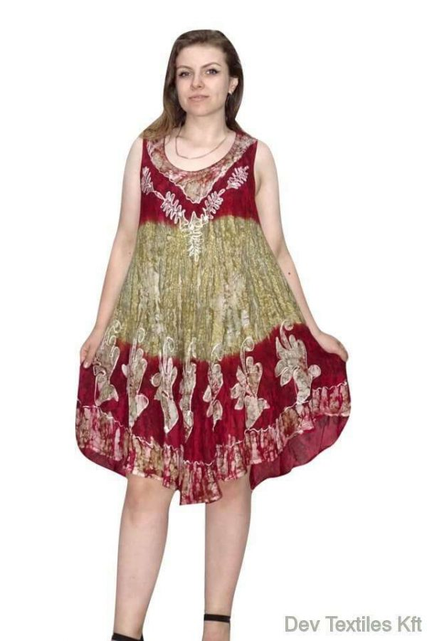 indiai rövid ruha keleti mintás stílusban piros