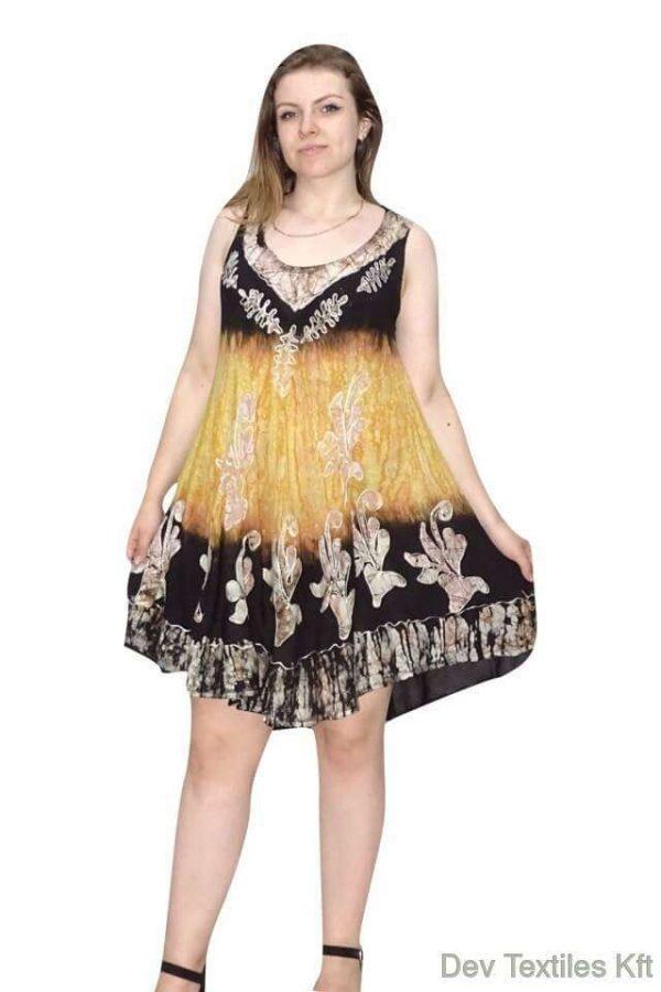 indiai rövid ruha keleti mintás stílusban sárga