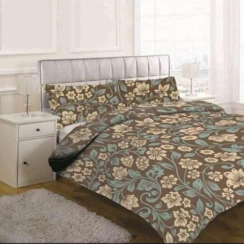 barna színben virágok pamut ágyneműhuzat