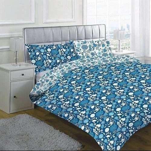 kék színben virág mintás pamut ágyneműhuzat