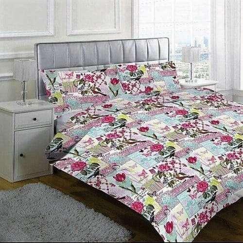 krém színben virág mintás pamut ágyneműhuzat