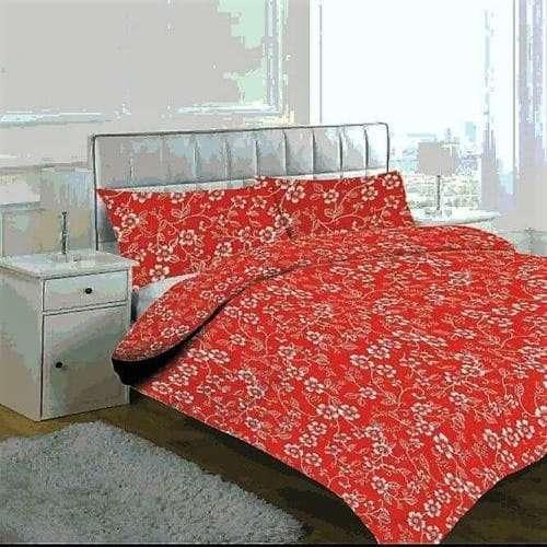 piros színben virágok pamut ágyneműhuzat