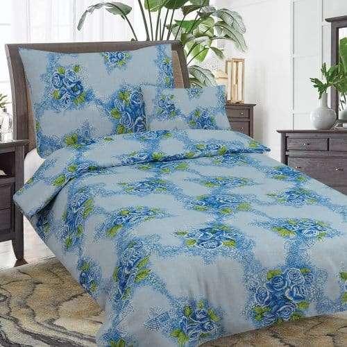 kék és rózsa minták flanel ágyneműhuzat