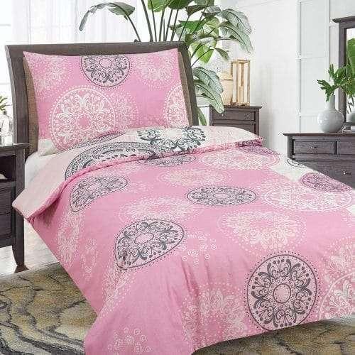 pamut ágyneműhuzat 2 részes pink színben