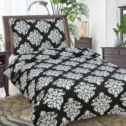 pamut ágyneműk fekete színű virággal