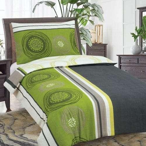 zöld és szürke karikás pamut ágyneműhuzat