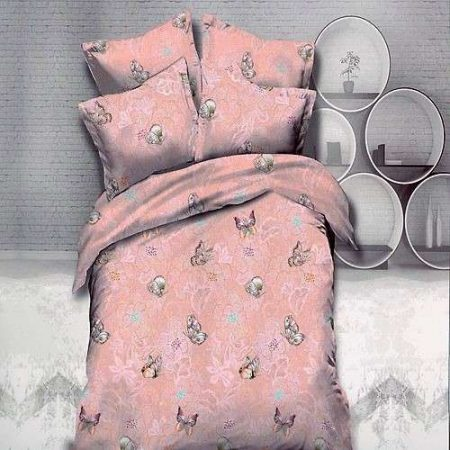 rózsaszín virág és pillangó mintás ágynemű 3 részes
