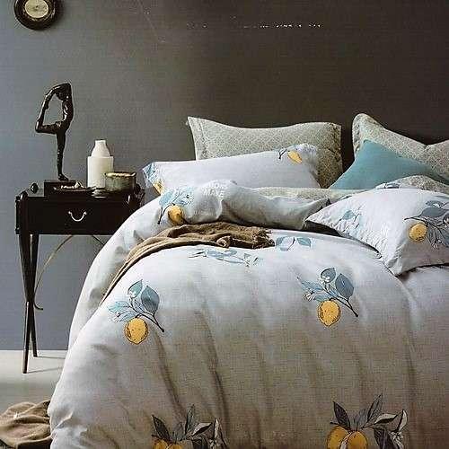 szürke színben citrom mintás pamut ágyneműhuzat