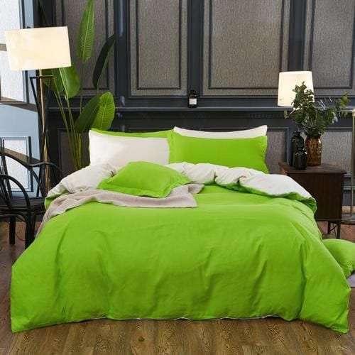 élénk zöld és krém színű pamut ágynemű