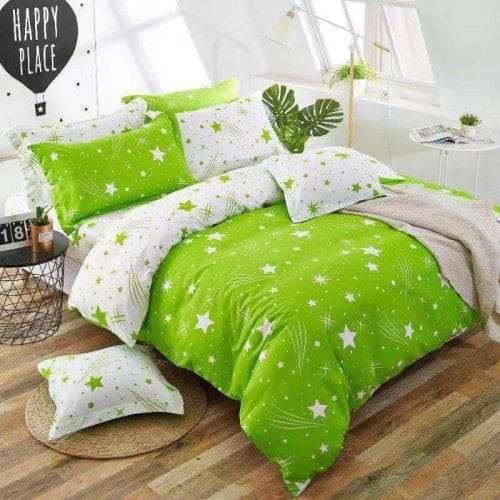 élénk zöld színben fehér csillagok ágyneműhuzat