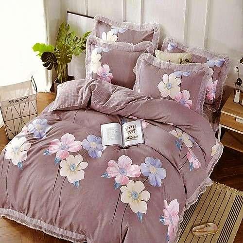 pamut ágyneműhuzat mályva színben virág minta
