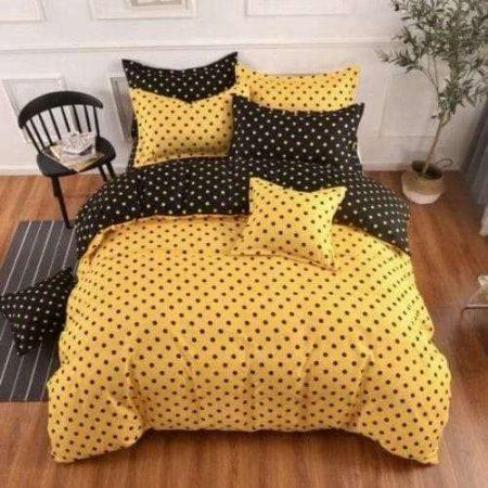 pamut ágynemű sárga színben pöttyök