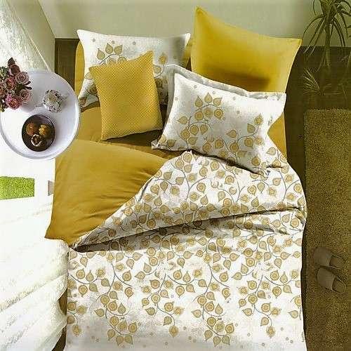 apró levelek krém és sárga ágyneműhuzat