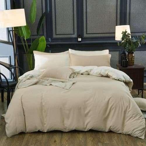 bézs és drapp színű pamut ágyneműhuzat