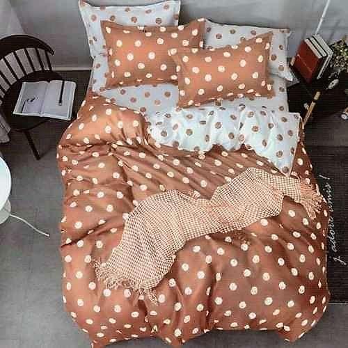 bézs színben fehér pöttyök pamut ágynemű
