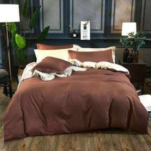 barna és bézs színű pamut ágyneműhuzat