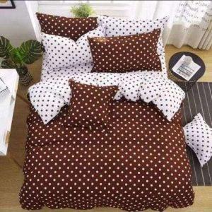 barna és fehér pöttyös pamut ágyneműhuzat