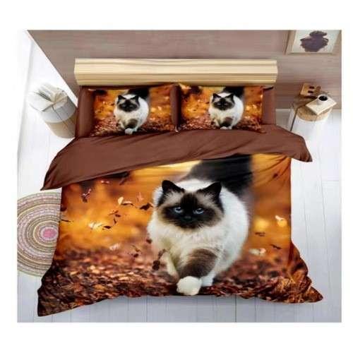barna színben cica mintás pamut ágyneműhuzat