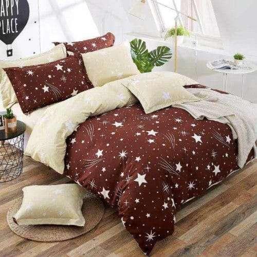 barna színben fehér csillagok pamut ágyneműhuzat