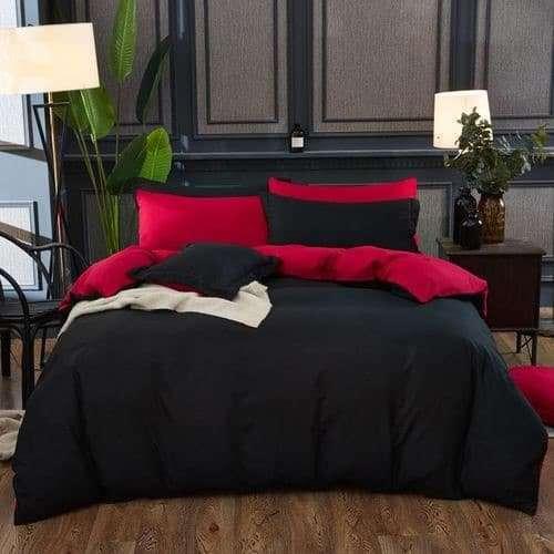 bordó és fekete színű pamut ágynemű