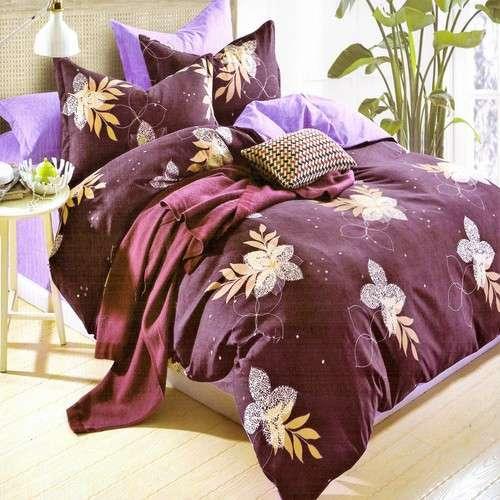 bordó alapon színes virágok pamut ágyneműhuzat