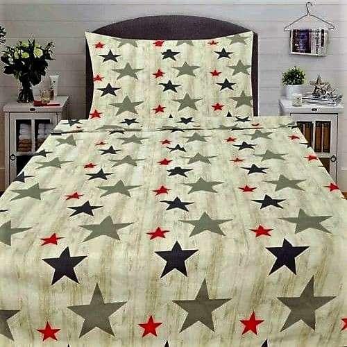 csillag mintás pamut ágyneműhuzat drapp színben