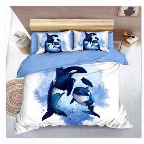 delfin mintás pamut ágyneműhuzat kék színben