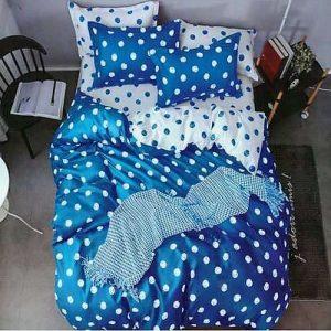 élénk kék színű pöttyös pamut ágynemű