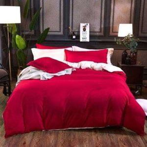 élénk piros és krém színű ágyneműhuzat