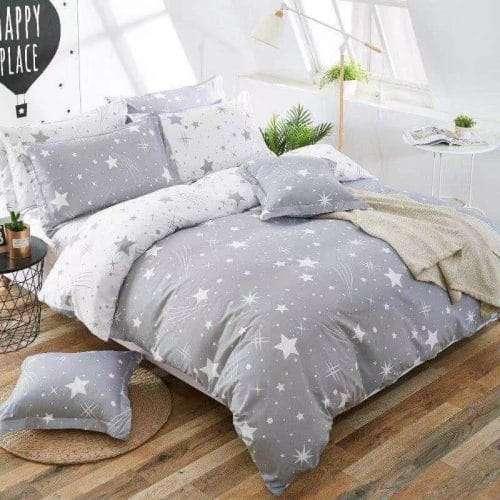 ezüst fehér színben csillagok pamut ágyneműhuzat