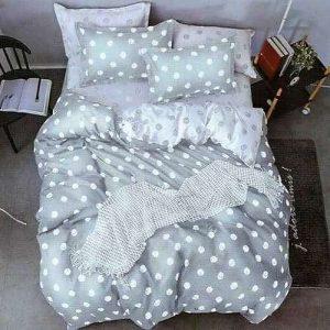 ezüst színben fehér pöttyös pamut ágynemű