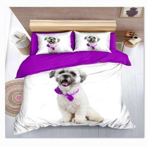 fehér lila színben kutyus pamut ágyneműhuzat