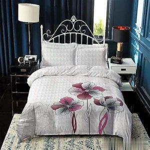 fehér kockás virágos pamut ágyneműhuzat