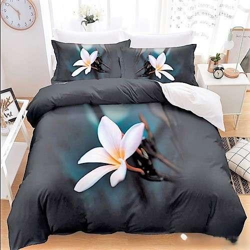 fekete kék színben virág mintás ágyneműhuzat
