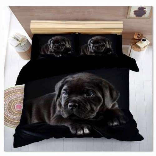 fekete kutyus mintás pamut ágyneműhuzat