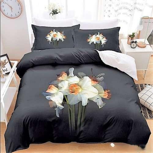 fekete színben virág csokor pamut ágyneműhuzat