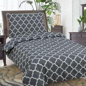 fekete színben fehér mintás pamut ágyneműhuzat