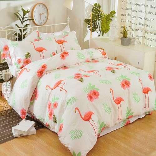 flamingó mintás fehér szín krepp ágyneműhuzat