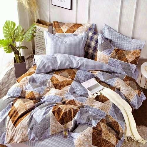 kék és barna színben pamut ágyneműhuzat