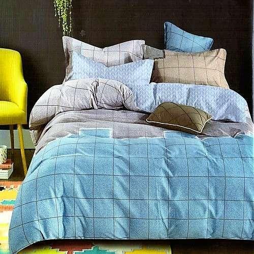 kék bézs színben kockás minta ágyneműhuzat