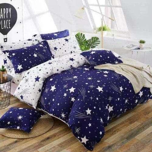 kék fehér színben csillagok pamut ágynemű