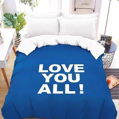 kék fehér színben felirat pamut ágynemű
