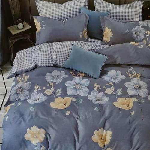 kék kockás és virágos pamut ágyneműhuzat