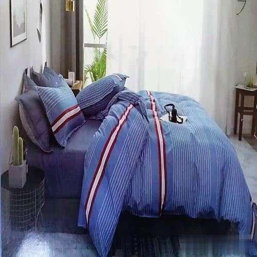 kék piros fehér csíkos pamut ágynemű