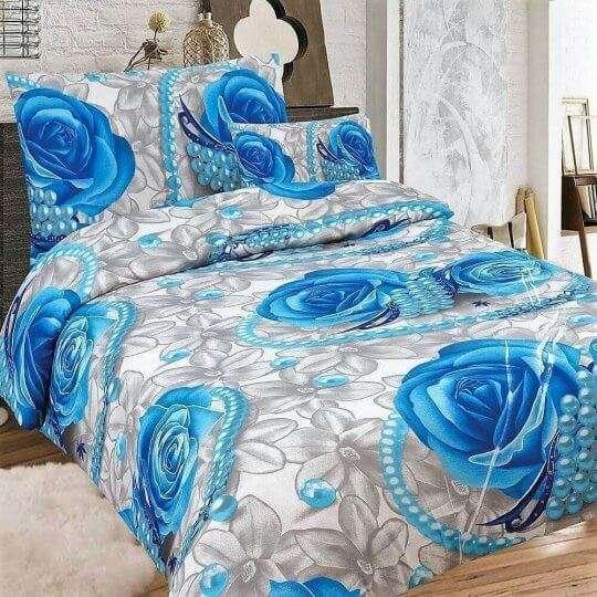 kék rózsa mintás krepp ágyneműhuzat