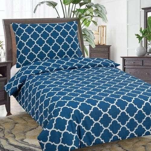 kék színben fehér mintás pamut ágyneműhuzat