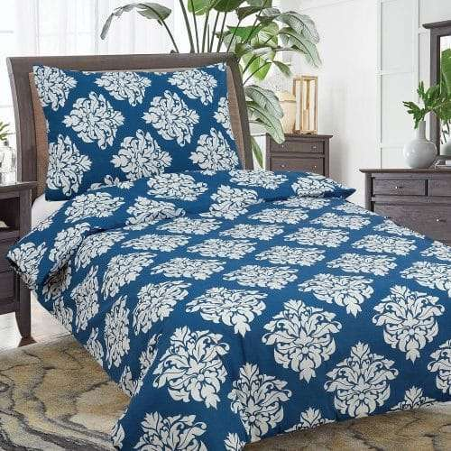 kék színben fehér virágok pamut ágyneműhuzat