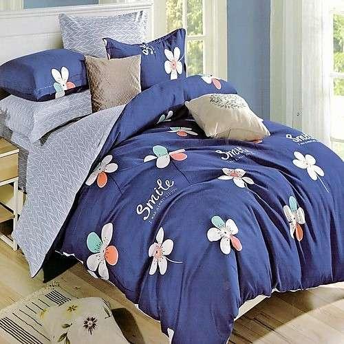kék színben smile felirat virágok ágyneműhuzat