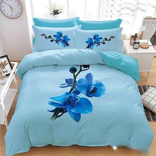 kék színben virágok pamut ágyneműhuzat